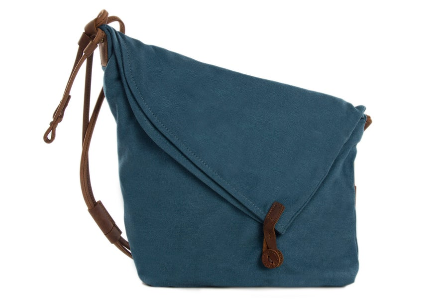 Image of Canvas Leather Satchel Bag, Waxed Canvas Messenger Bag Crossbody Bag Shoulder Bag 6631