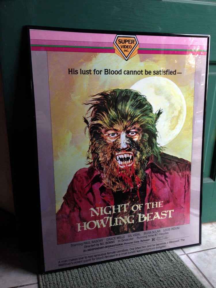 """Image of 1975 NIGHT OF THE HOWLING BEAST Super Video box art Poster VHS 24 x 36"""" Painted by BASIL GOGOS!"""