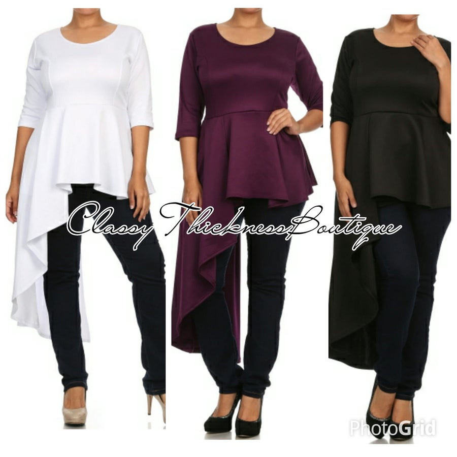 Image of Angled Dropped Peplum Top