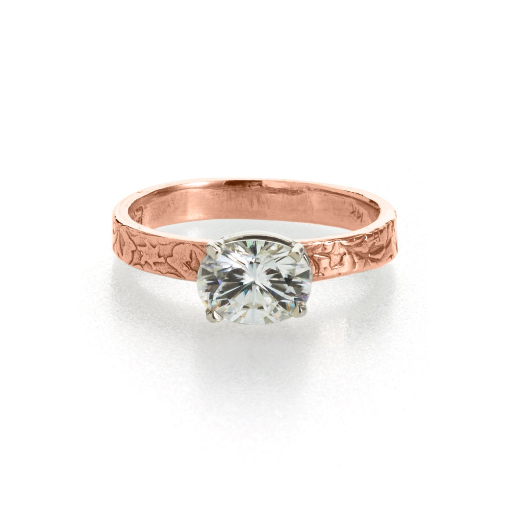 Image Of Oval Moissanite Engagement Ring