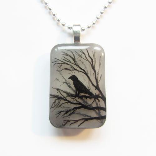 Image of Raven on Tree Resin Pendant