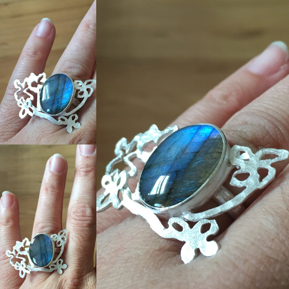 Image of Wildflower Series:sterling silver and labradorite wildflower ring