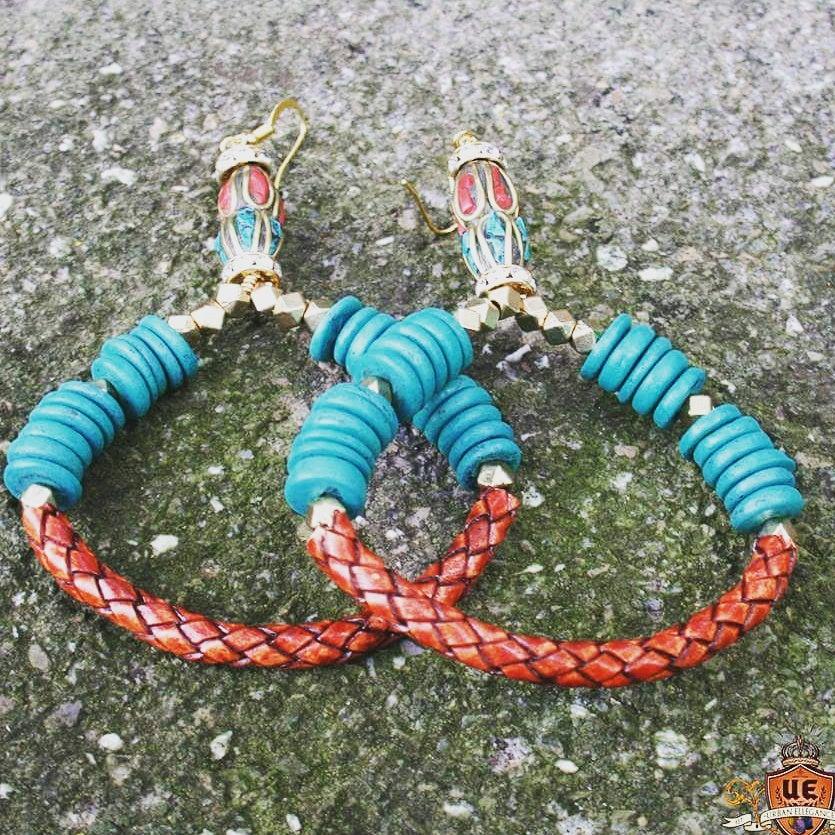 Image of Urban Ellegance Hoop Series Earrings  LEATHER/WOOD COMBO