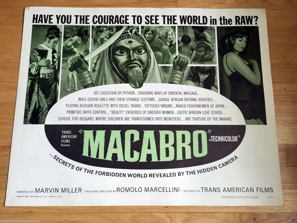 Image of 1966 MACABRO Original U.S. Half Sheet Movie Poster