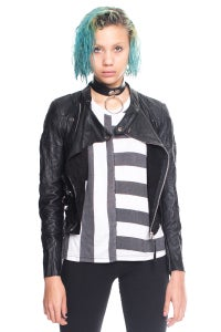 Image of Cropped Leather Biker Jacket