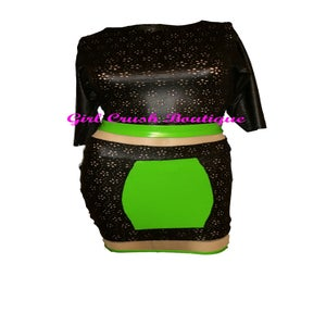 "Image of ""Kat"" Black and Neon Green Top and Skirt Duo Set"