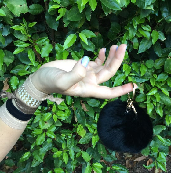 Image of Black Extra Large Pom Fur Key Chain + Hair Tie Combo Pack
