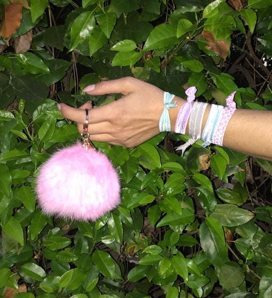 Image of Pink Extra Large Pom Fur Key Chain + Hair Tie Combo Pack