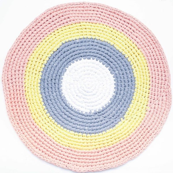 Image of Peach Grey Yellow & White Crochet Floor Rug