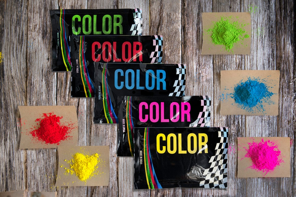 Image of 5 x 100 gram packets of various colours