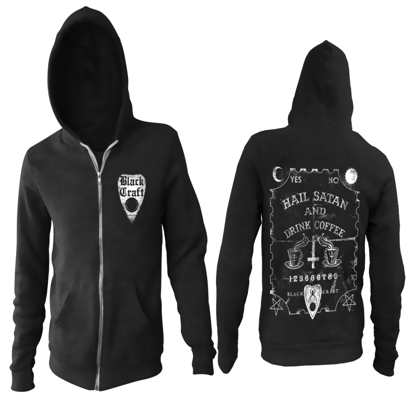 Image of Hail Satan And Drink Coffee - Zip Up Hoodie
