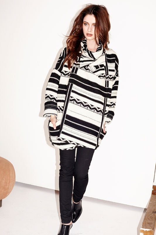 Image of Capulet Black & White Stripe Jacquard Jacket