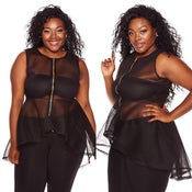Image of PLUS SIZE Transparent High Low Peplum Top