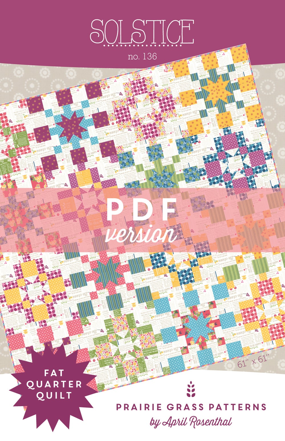 Prairie Grass Patterns Solstice Pdf Quilting Pattern 136