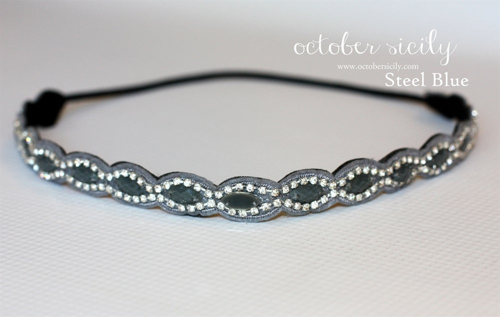 Image of Steel Blue Beautiful Bead & Gem Headband