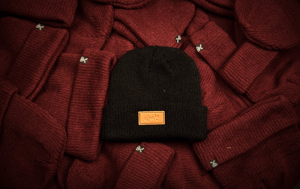 Image of Embossed Leather Beanie