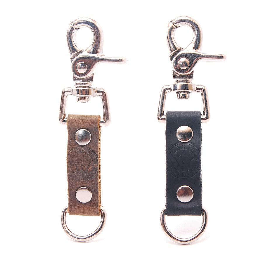 Image of Chrome Stoned Oil Leather Mini Belt Clip Keychain
