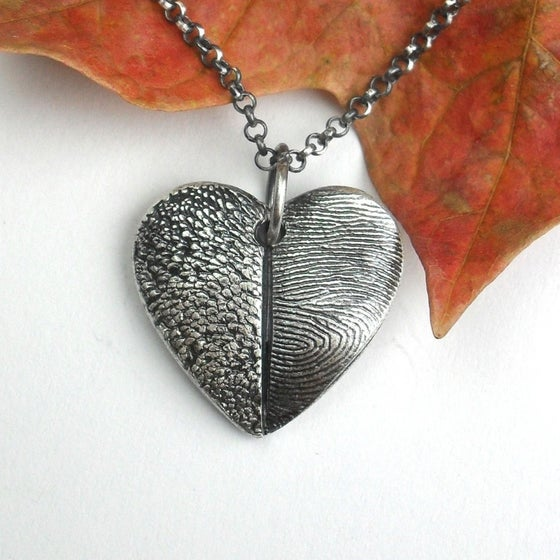Image of Heart Necklace with Pet Print and Fingerprint (Style#203)