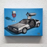 DeLorean and Me Print - Robot Art by Matt Q. Spangler