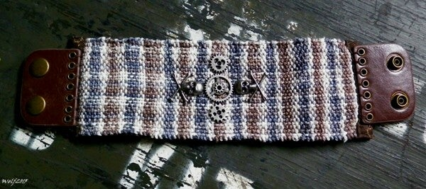 Image of Even The Dead Keep Time, handmade, handwoven cuff