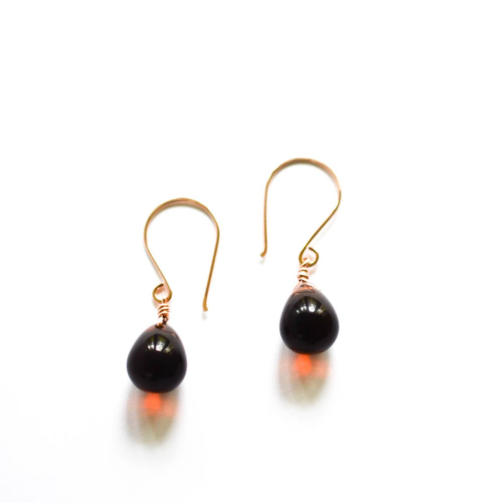 Image of Rust glass drop earrings