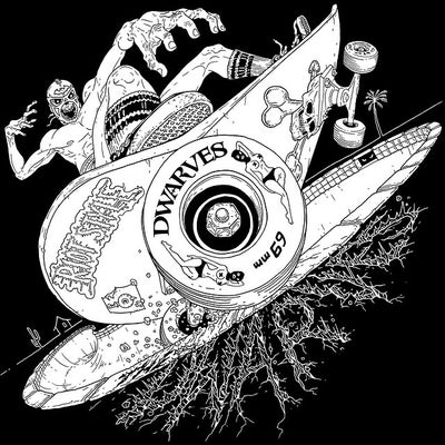 Image of The Dwarves - Radio Free Dwarves Luchador Zombie Thrasher T-Shirt (Discharge / Black)