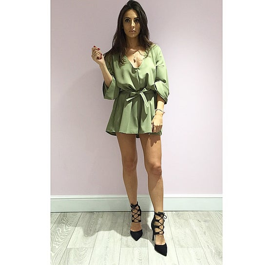 Image of Kimono Style Belted Playsuit In Khaki