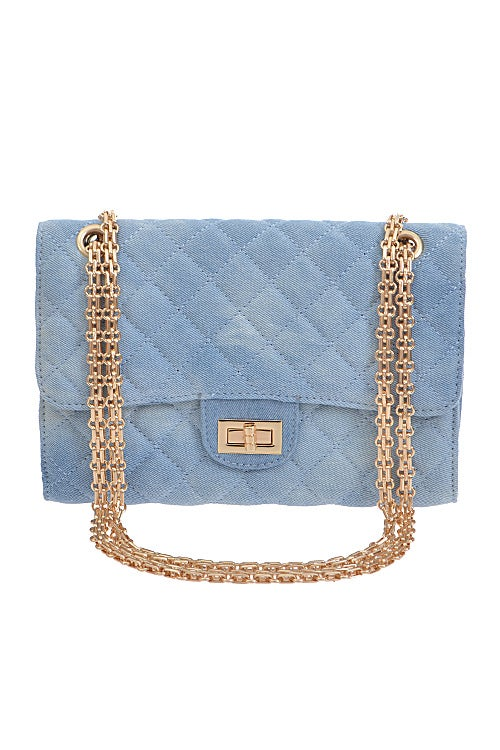 Image of Denim Detailed Quilted Clutch
