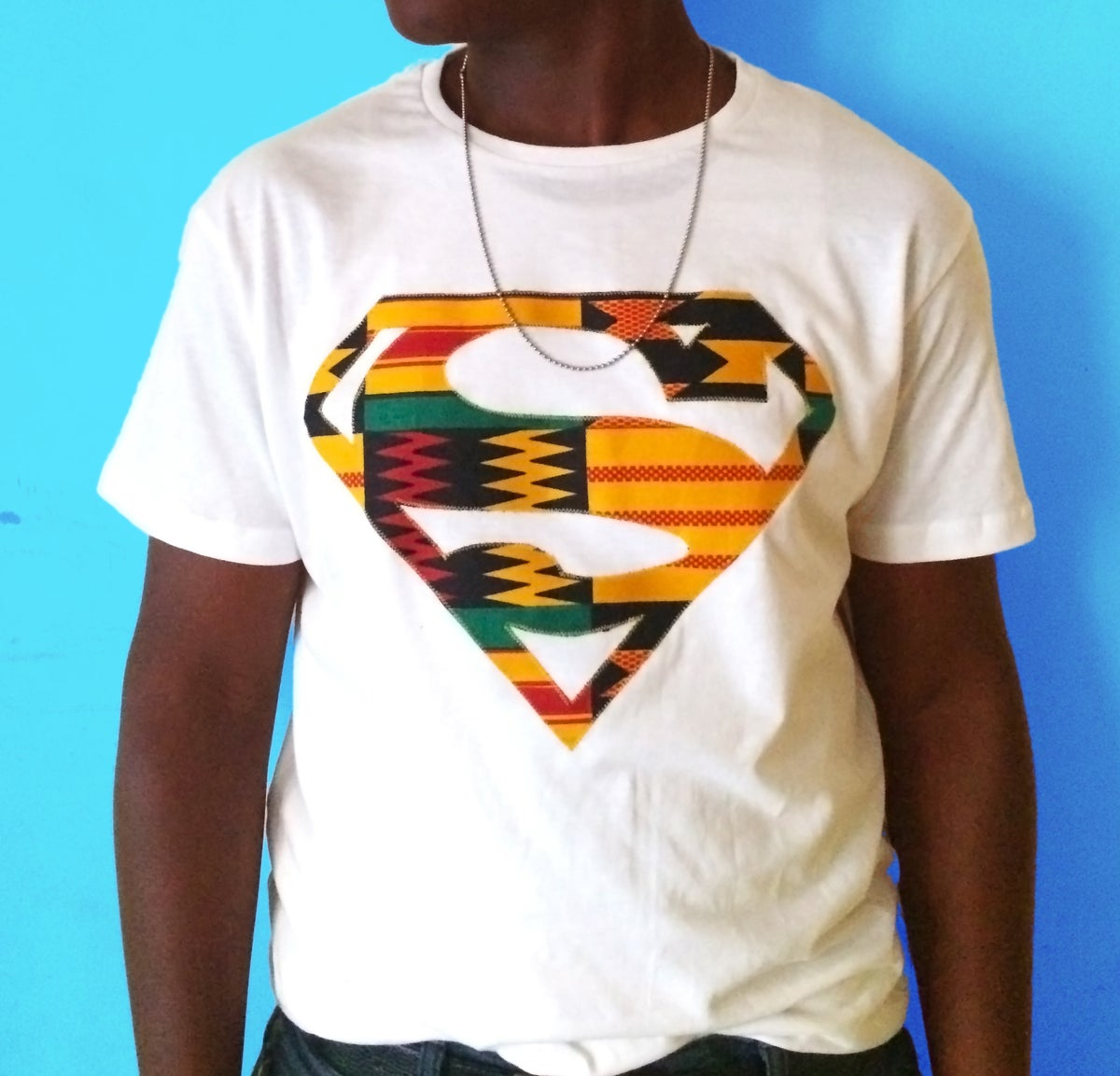 Ziindya Afro Superman Men 39 S Tee Shirt With Kente Hand