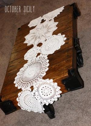 Image of  Beautiful Handmade Crochet Doily Table Runner