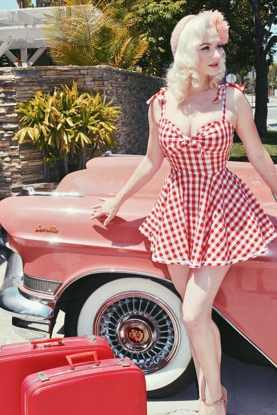 Image of 'Polly' Skirted Playsuit - Red Gingham