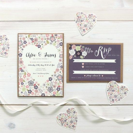 Image of Love Heart Bespoke Wedding Invitation and RSVP Bundle