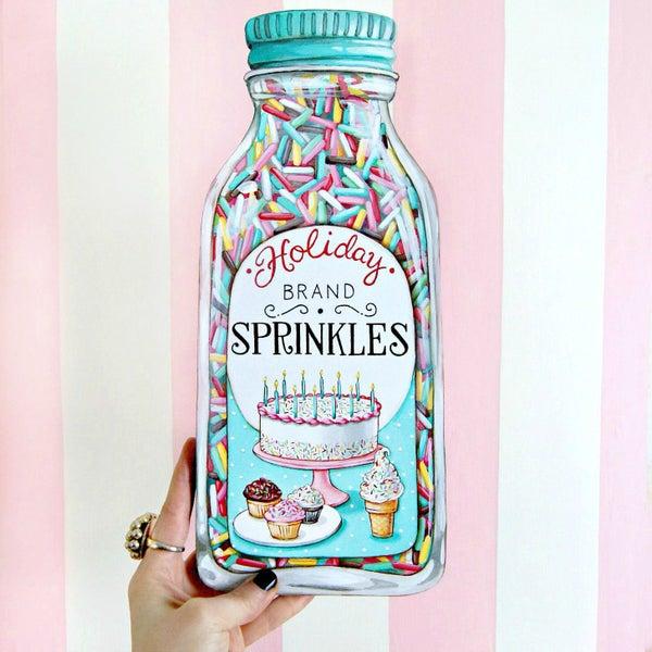 """Image of Jumbo """"Bottle of Sprinkles"""" wood diecut plaque"""