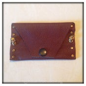 Image of Leather Card Holder - Brown - 'Skull & Studs'