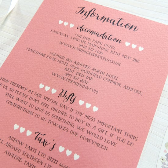 Image of Love Heart Bespoke Wedding Information Card