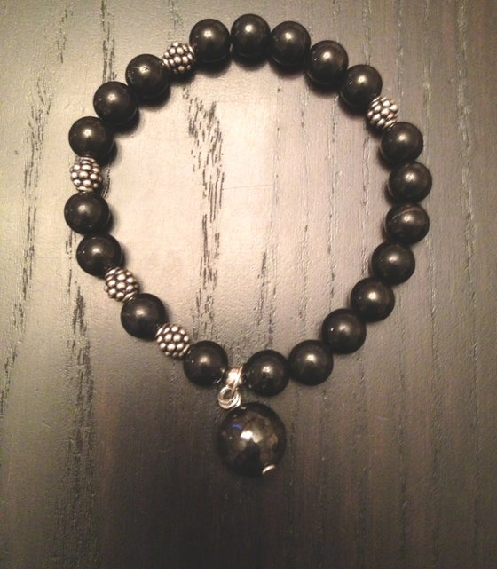 Image of All Shungite Infinity Wrist Mala Silver Pineal