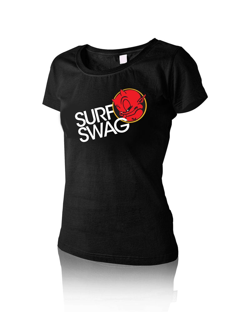 """Image of Women's """"Surf Swag"""" Baby Doll Tee Black"""