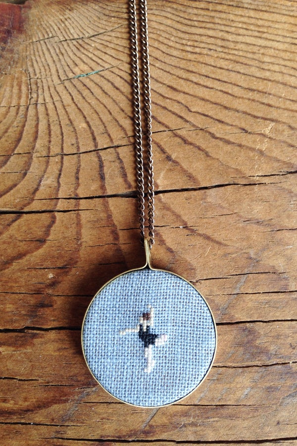 Image of Dancer Cross Stitched Pendant