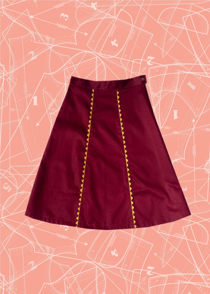Image of Gingerbread Skirt: Burgundy Twill