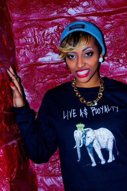 Image of LIVE A$ ROYALTY LADIES CREW NECK SWEATERS