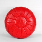 Image of Moroccan Leather Pouffe (Bright Red)