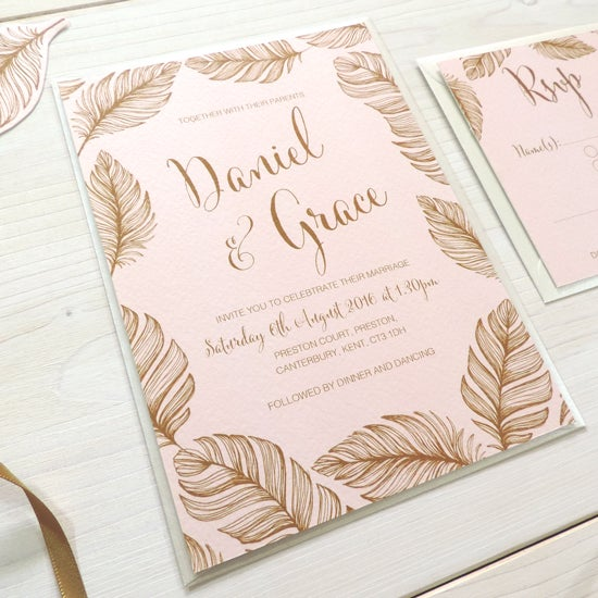 Image of Tickled Pink Bespoke Wedding Invitation and RSVP