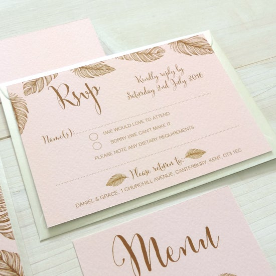 Image of Tickled Pink Bespoke Wedding Invitation and RSVP Bundle