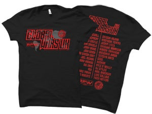 Image of RPW x NJPW Global Wars UK Official Event T-Shirt (With FREE Silicone Wristband)