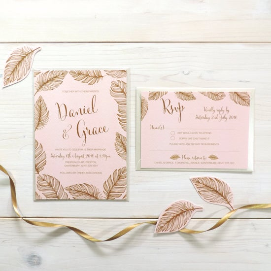 Image of Tickled Pink Bespoke Wedding Invitation and RSVP Personalised Bundle