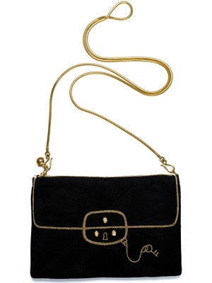 Image of coco black*zip pouch medium with long chain