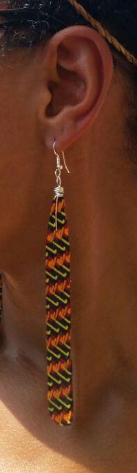 Image of Long Drop Ankara Earrings