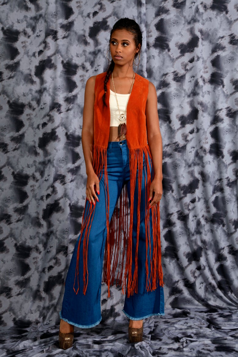 Image of Rust Suede Fringed Maxi Vest