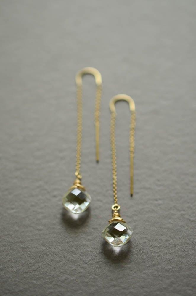 Image of Clear quartz cushion cut threader earrings gold