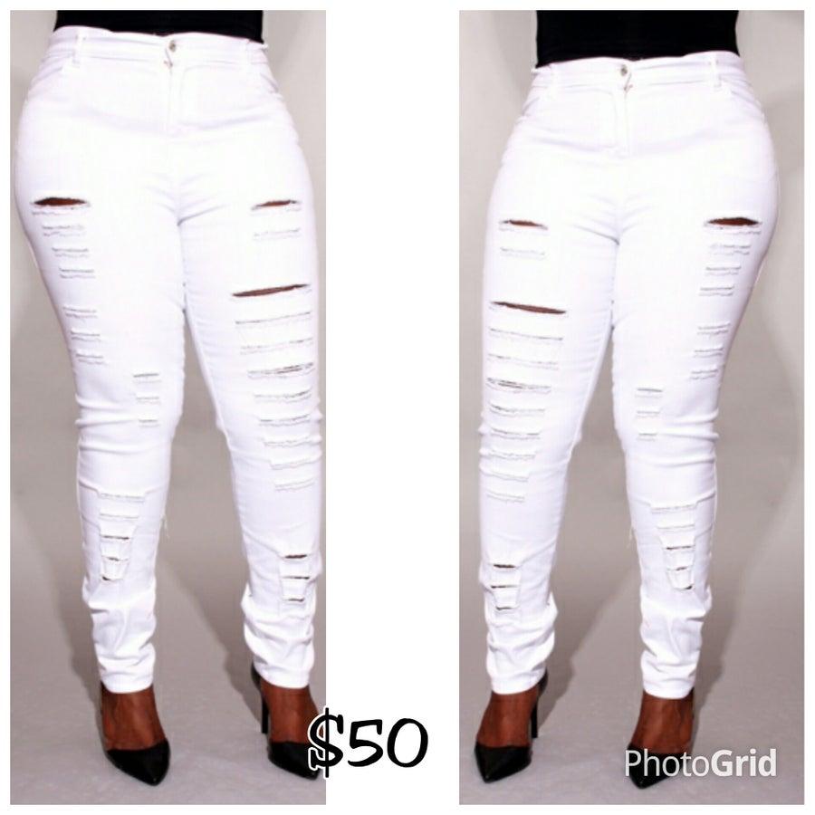Image of Razored White Highwaist Jeans